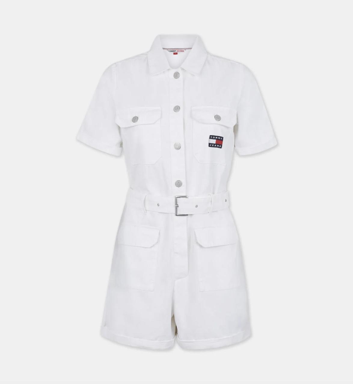 Combi-short blanche en coton biologique, Tommy Jeans by Tommy Hilfiger, 65,40€ au lieu de 109€