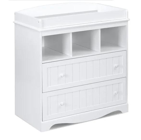 Commode à langer avec deux tiroirs et rangements – 127€95 190,00 €