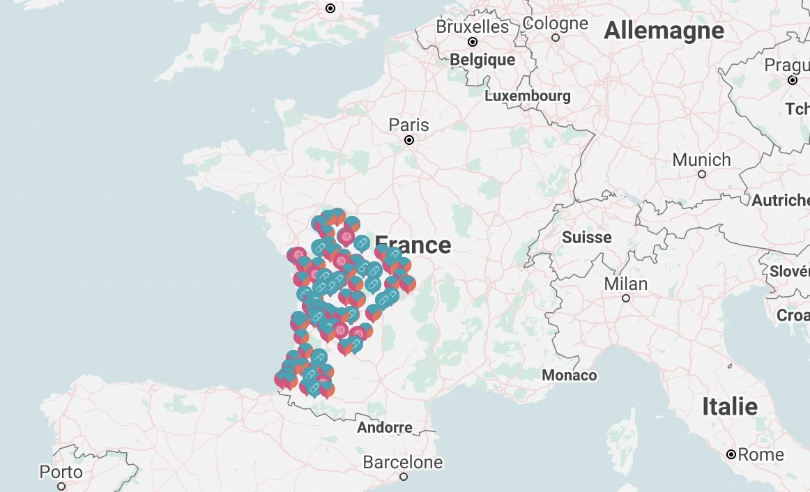 Carte des centres où on peut pratiquer une IVG dans le Sud-Ouest de la France