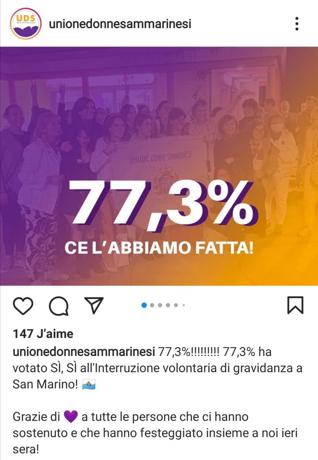 « 77,3%, nous l'avons fait ! » L'union des femmes de Saint Marin célèbre cette victoire sur son compte Instagram / Capture d'écran