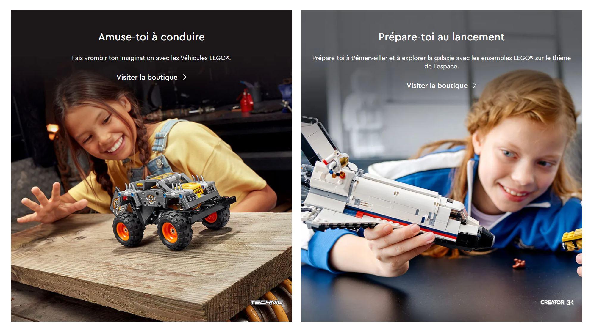 Capture d'écran du site de LEGO